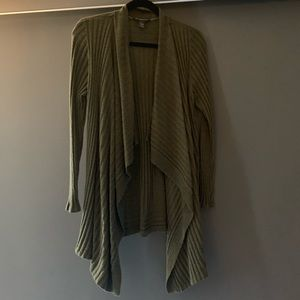INC olive green cardigan